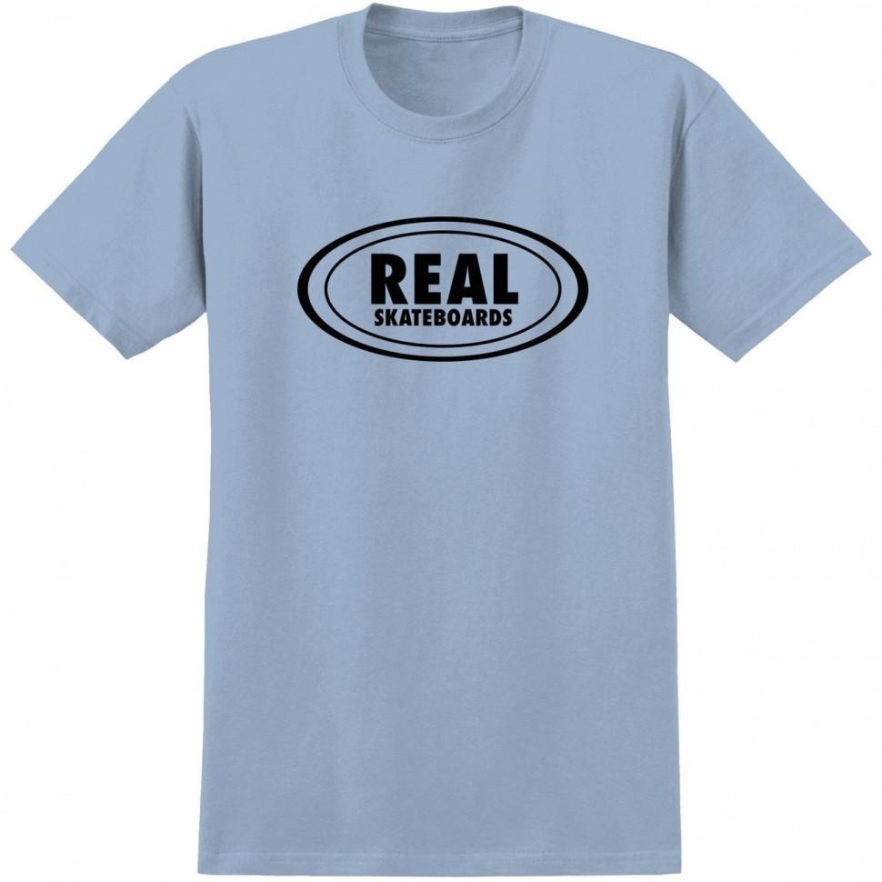 Футболка REAL SKATEBOARDS Rl S/S Ovl Outlne Pwdr Blue/Black фото