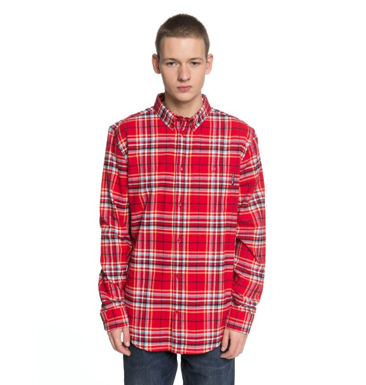 Купить Рубашка мужская DC SHOES South Ferry Ls M Tango Red, Индия