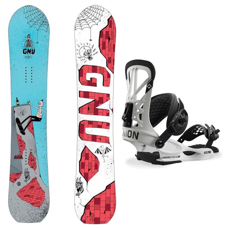 Купить Комплект сноуборда мужской GNU Money C2E + UNION Flite Pro White