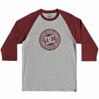Футболка DC SHOES Research 3/4 Ra M Tees Pomegranate/ Grey Heater
