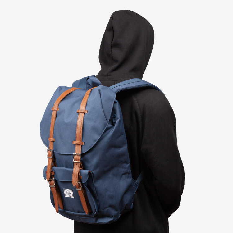 Рюкзак HERSCHEL Herschel Little America Navy/Tan Synthetic Leather , фото 1