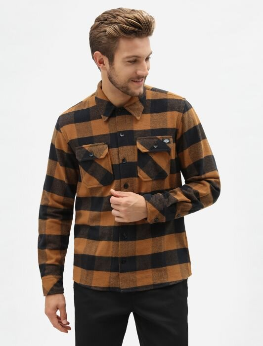Рубашка DICKIES Sacramento Relaxed Long Sleeve Shirt Brown Duck 2020