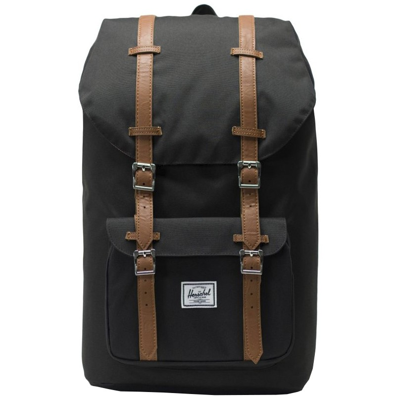 фото Рюкзак herschel herschel little america black/tan synthetic leather 2020