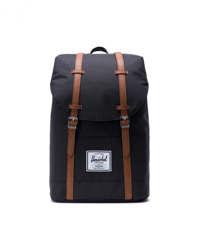 фото Рюкзак herschel retreat black/tan synthetic leather 2020