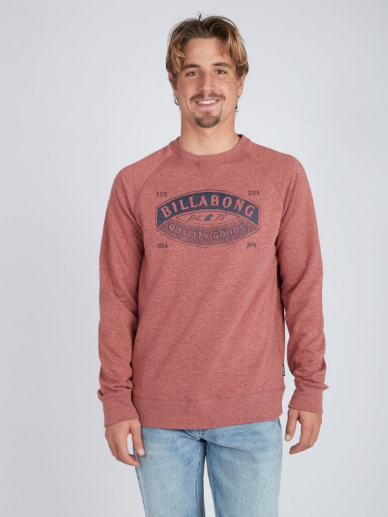 Флисовый свитшот мужской BILLABONG Guardiant Crew Rustic Red, фото 1