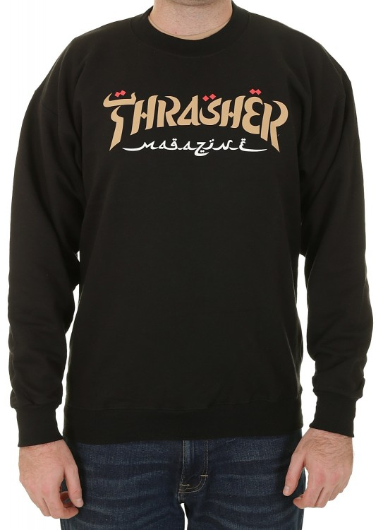 Свитшот THRASHER Calligraphy Crewneck Black 2020, фото 1