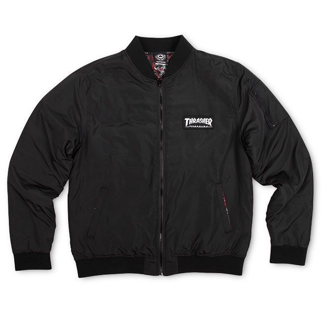 Куртка-бомбер THRASHER Bomber Jacket Black, фото 3
