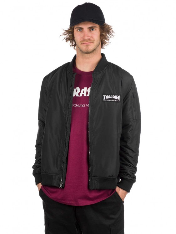 Куртка-бомбер THRASHER Bomber Jacket Black, фото 1