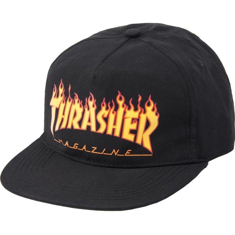 Купить Бейсболка Thrasher Flame Snapback Black