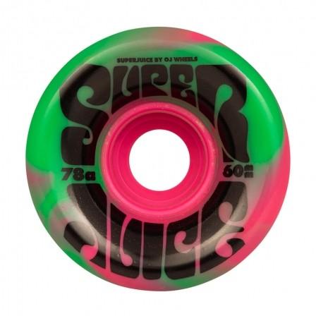 Колеса для лонгборда OJ Super Juice Pink Green Swirl 78a 60мм Santa Cruz