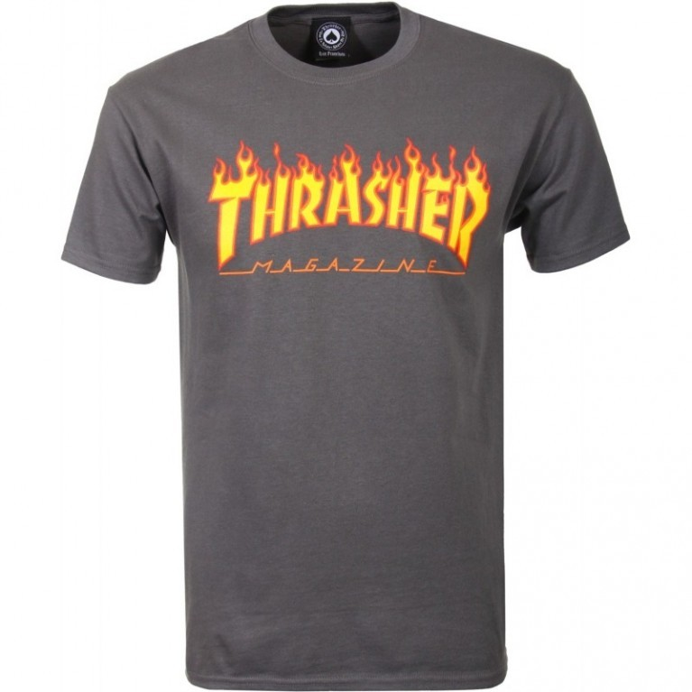 Футболка с принтом THRASHER Flame Logo Charcoal Grey 2020 фото