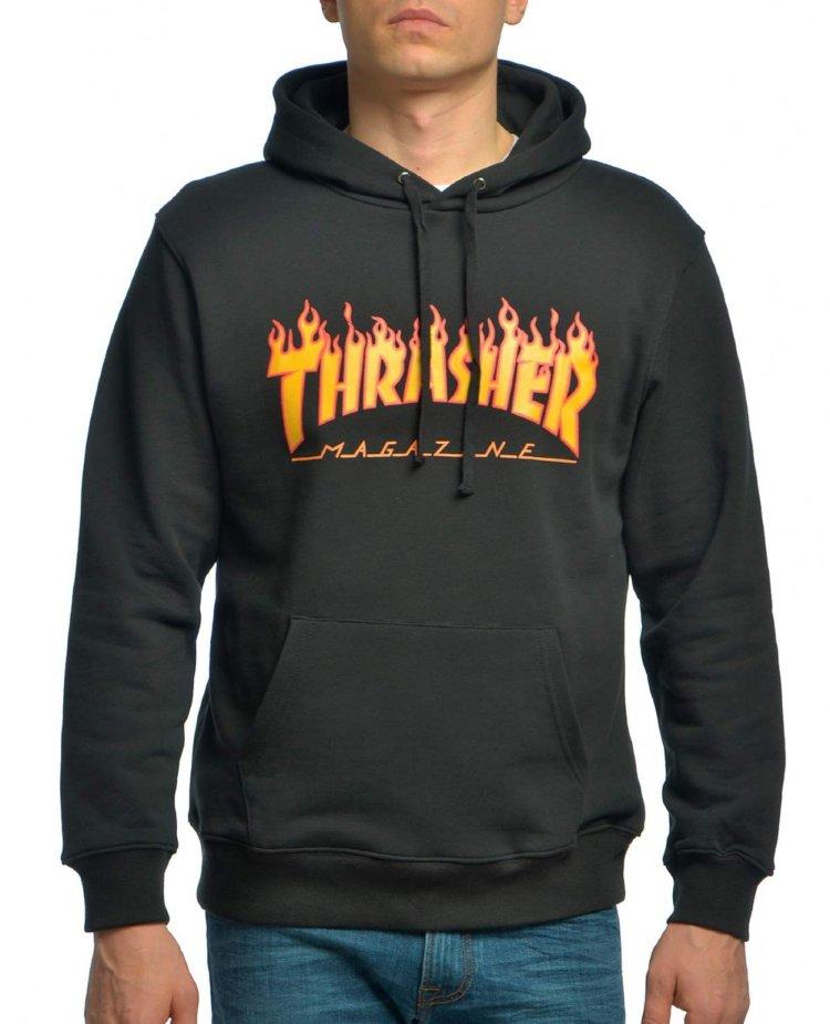 Купить Толстовка THRASHER Flame Logo Hood Black, Китай