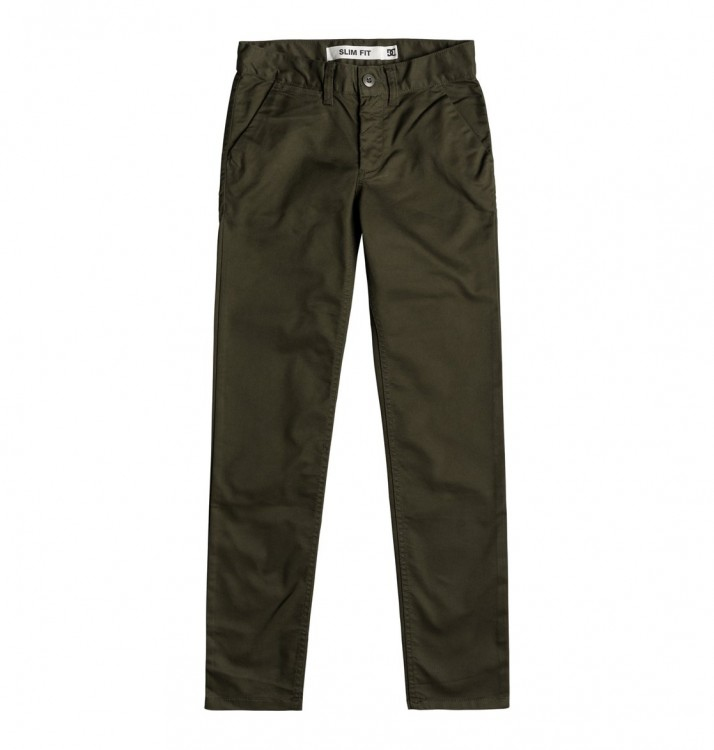 Брюки DC SHOES Worker Slim Boy B Dark Olive, фото 1