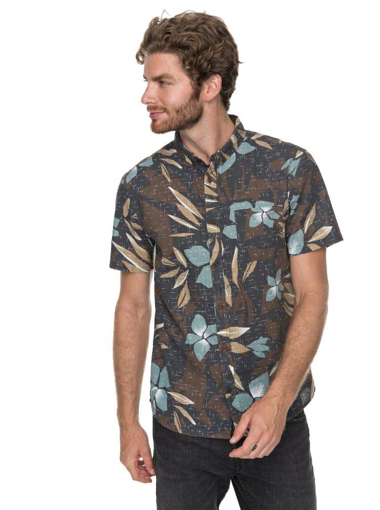 Купить Рубашка мужская QUIKSILVER Sslinenprintshi M Chocolate Linen, Бангладеш