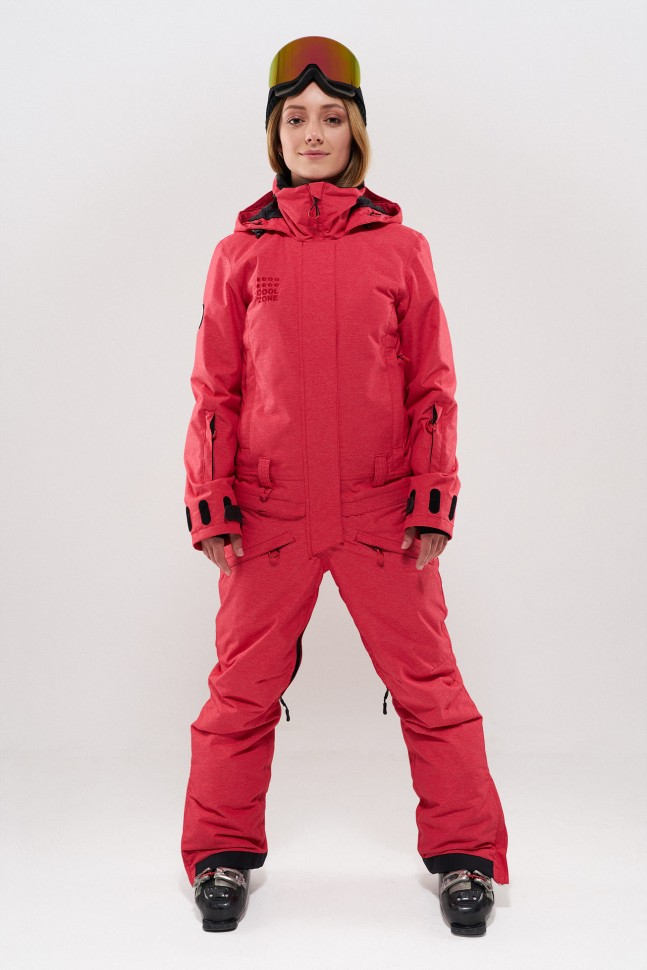 Комбинезон для сноуборда женский COOL ZONE Twin One Color Красный Джинс фото