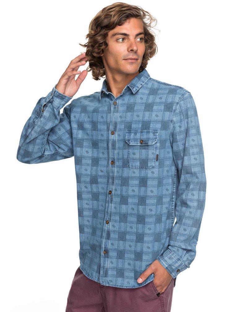 Купить Рубашка мужская QUIKSILVER Fullrailindigo M Blue Used Full Rail, Индонезия