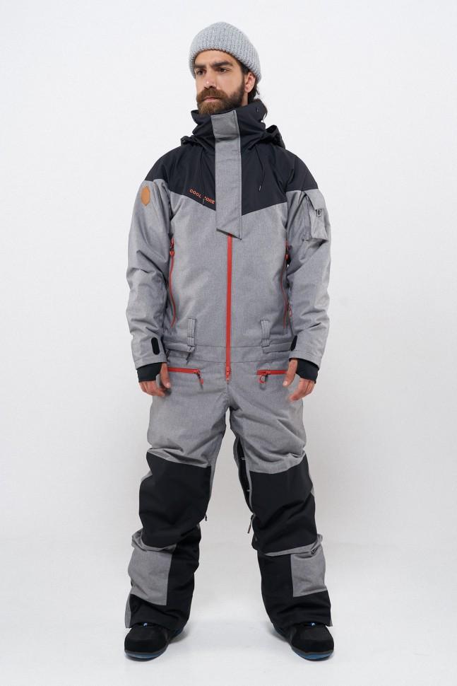 Комбинезон для сноуборда мужской COOL ZONE Iron Черный/Серый Меланж фото