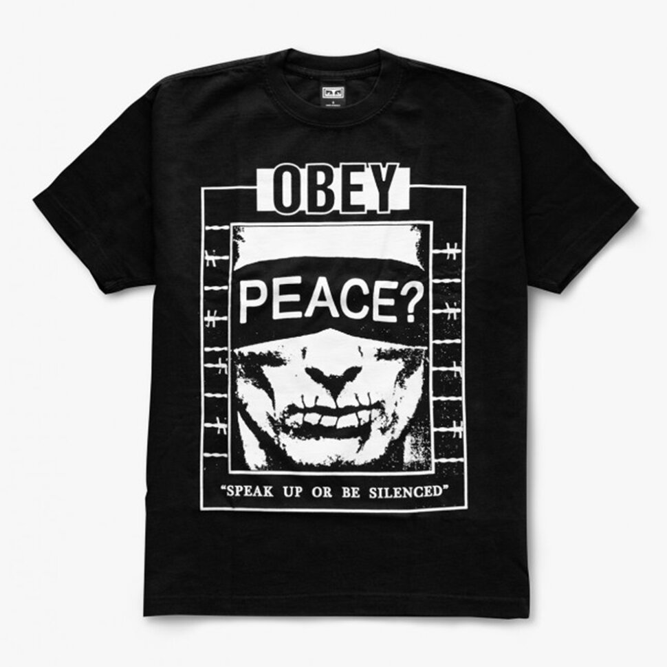 Хлопковая футболка OBEY Speak Up Off Black 2020 фото