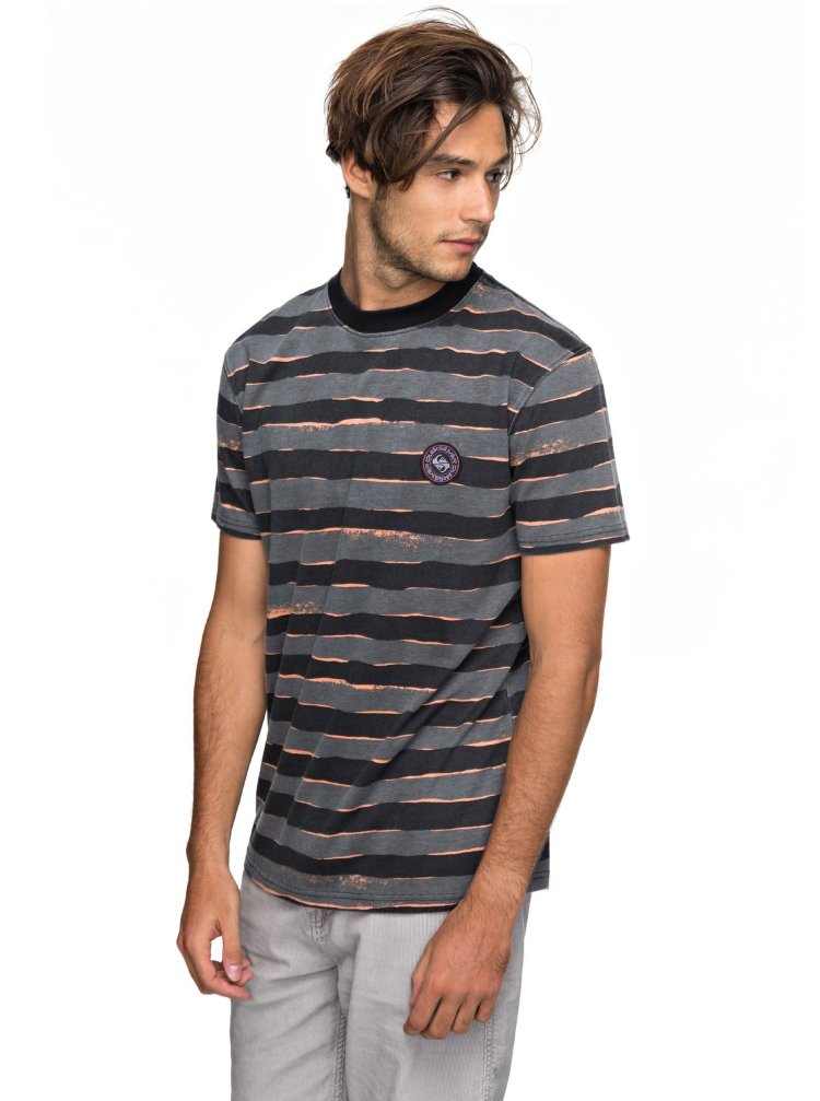 Купить Футболка мужская QUIKSILVER Ssallprintmadwa M Black Mad Max Stripes, Индия