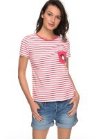 Футболка женская ROXY Bahamas Cott B J Rouge Red Basic Bico Stripes