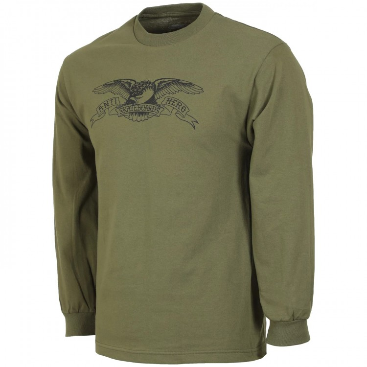 Лонгслив ANTI-HERO Ah L/S Bsc Eagle Military Green/Black, фото 1