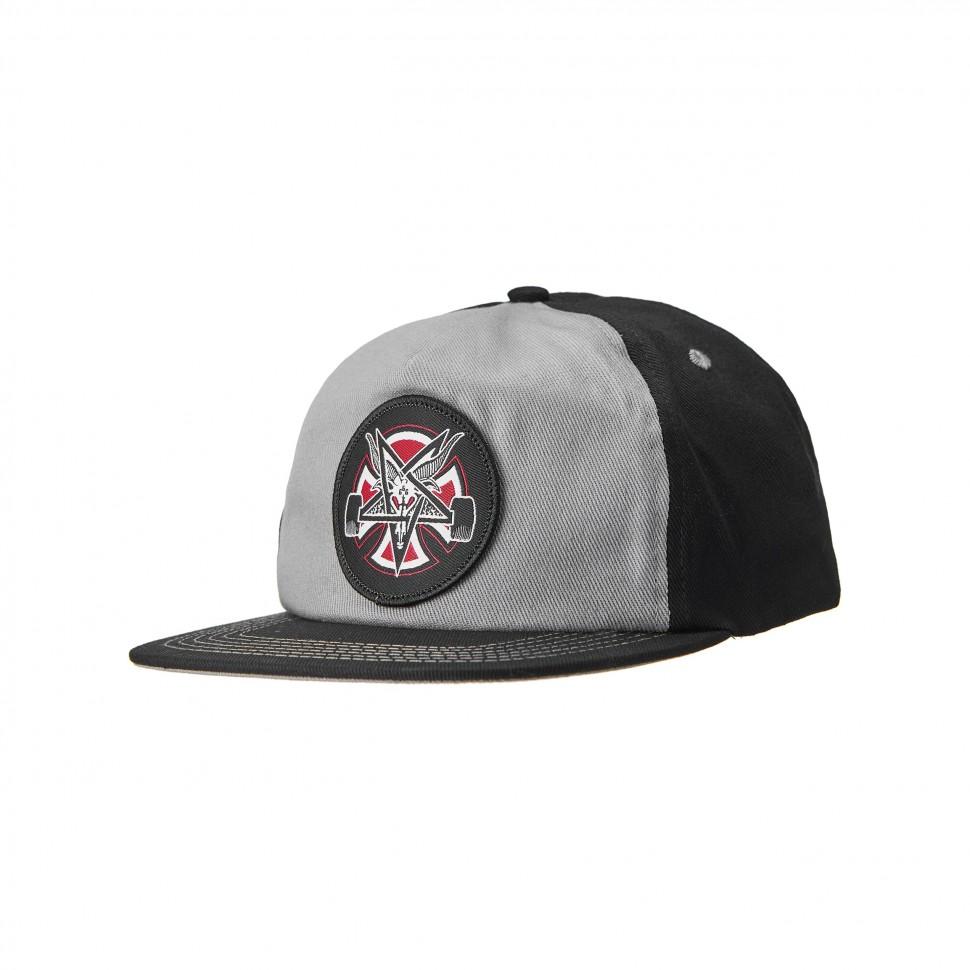 Кепка Independent x Thrasher Pentagram Cross Adjustable Snapback Hat Grey/Black фото