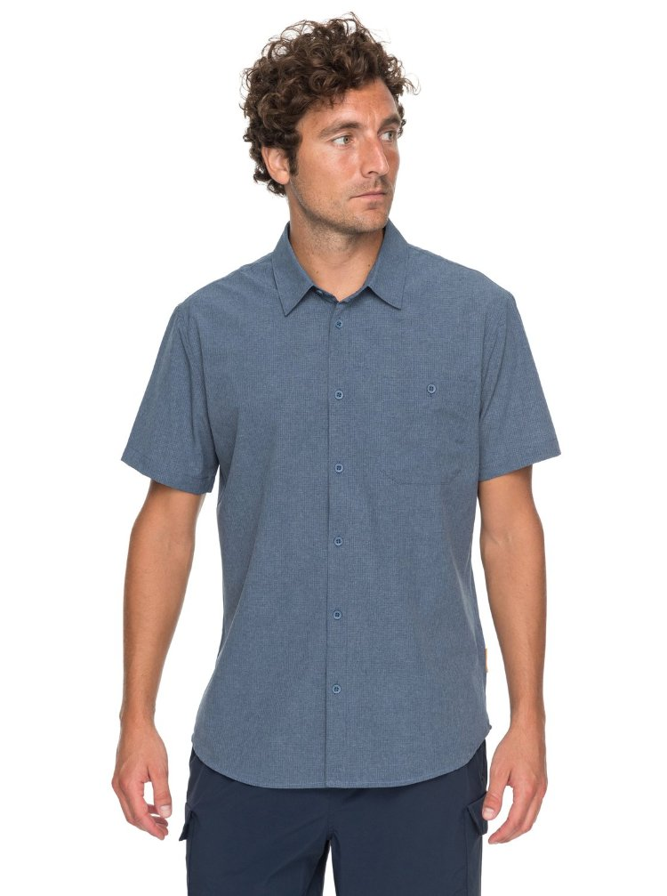 Купить Рубашка мужская QUIKSILVER Techshirt M Dark Denim Heather, Индонезия