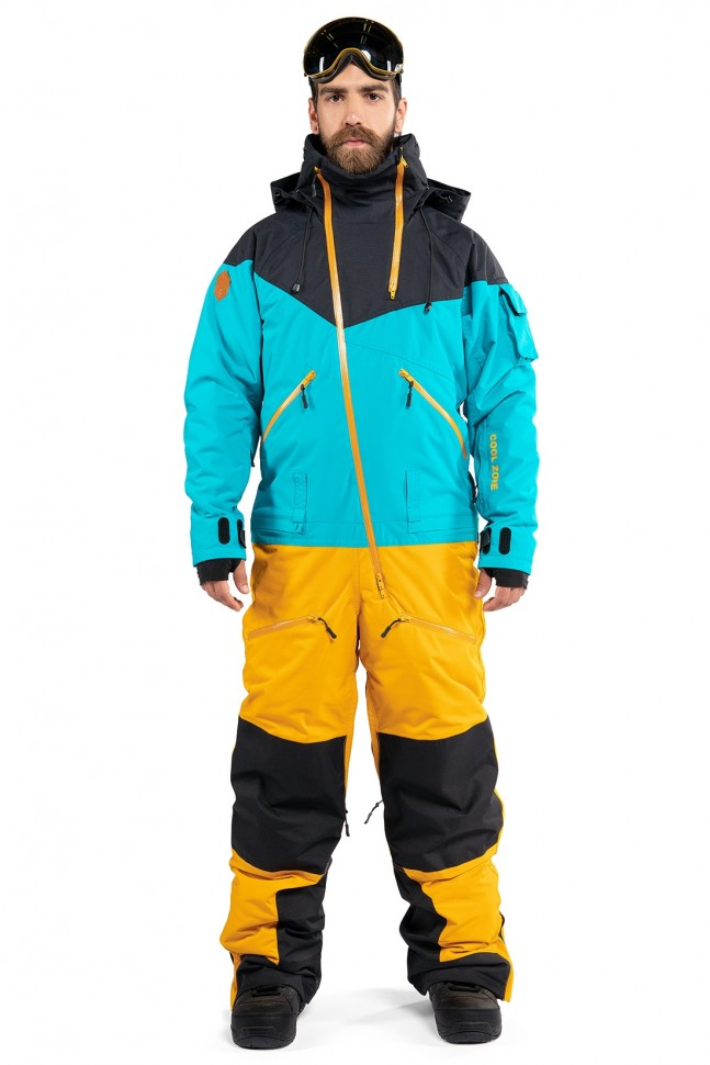 Купить со скидкой Комбинезон для сноуборда мужской COOL ZONE Kite Черный-Волна-Горчичный
