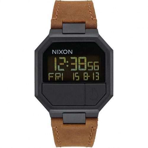 Часы NIXON Re-Run Leather A/S All Black/Brown