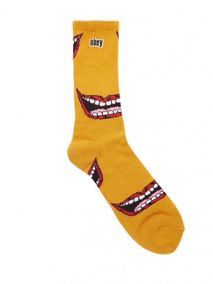 Купить со скидкой Носки OBEY Lips Socks Mineral Yellow Multi