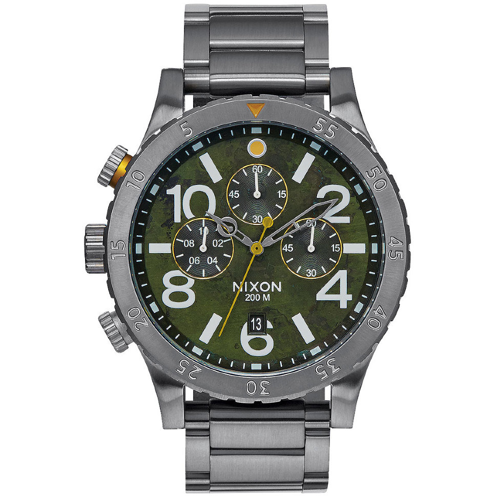 Часы NIXON 48-20 Chrono A/S Gunmetal/Green Oxyde