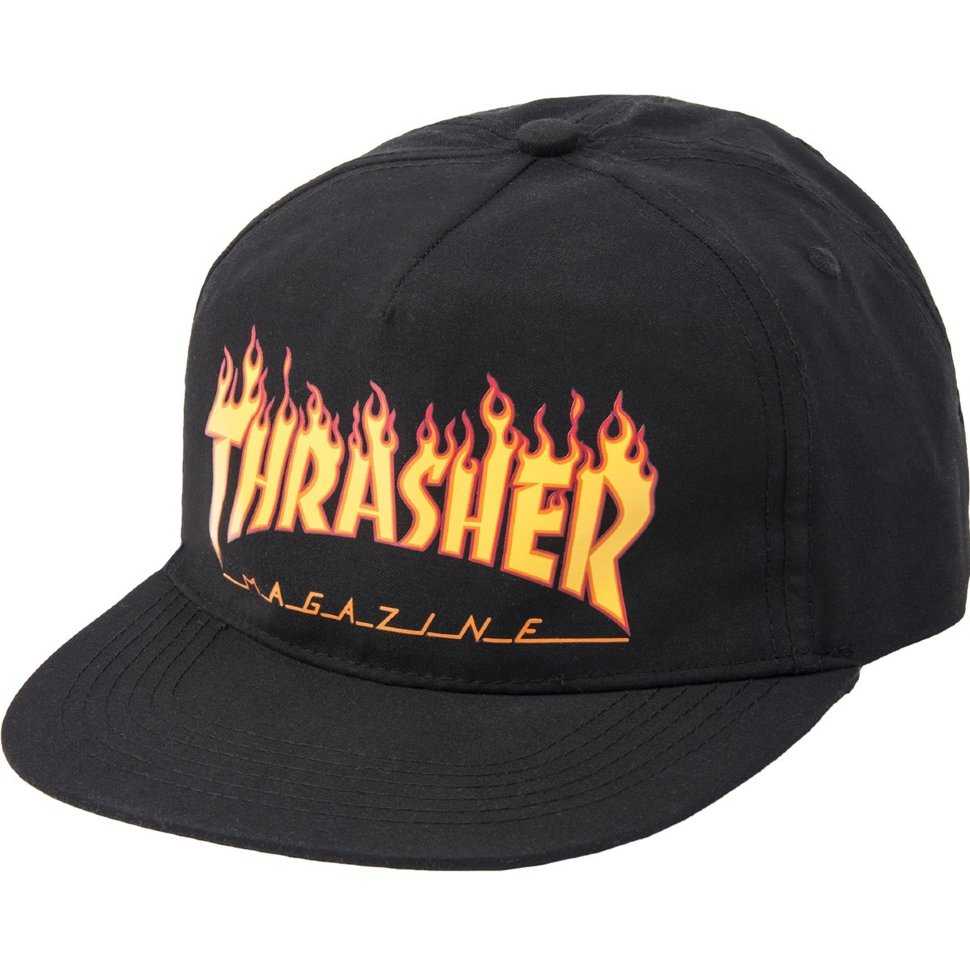 Бейсболка Thrasher Flame Snapback Black