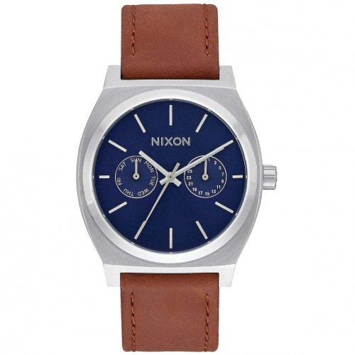 Часы NIXON Time Teller Deluxe Leather A/S Navy Sunray/Brow
