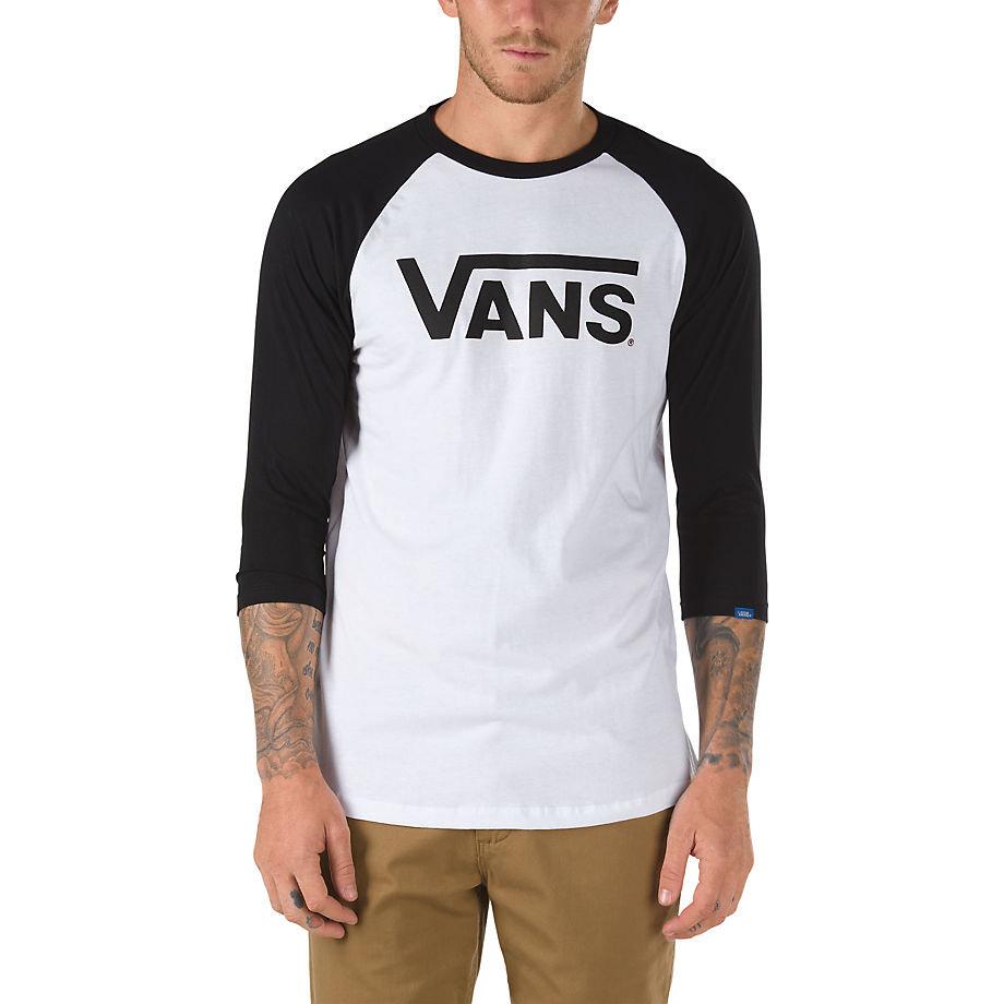 Купить со скидкой Футболка с рукавом 3/4 VANS Mn Vans Classic Ragl White-Black
