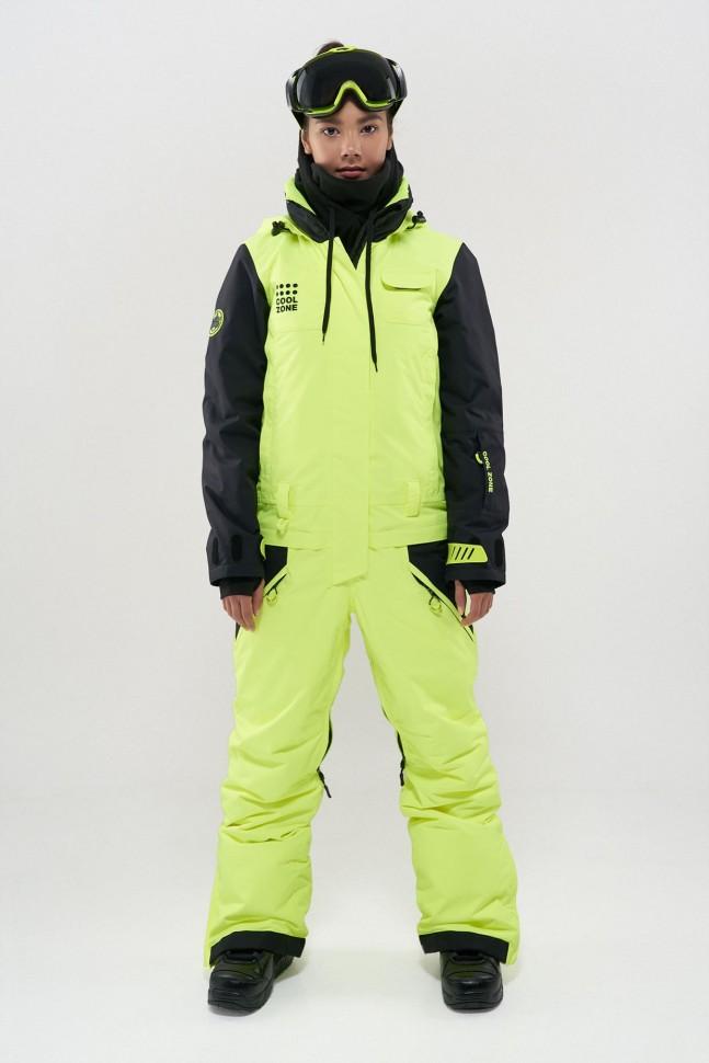 Комбинезон для сноуборда женский COOL ZONE Flex Салатовый-Черный фото