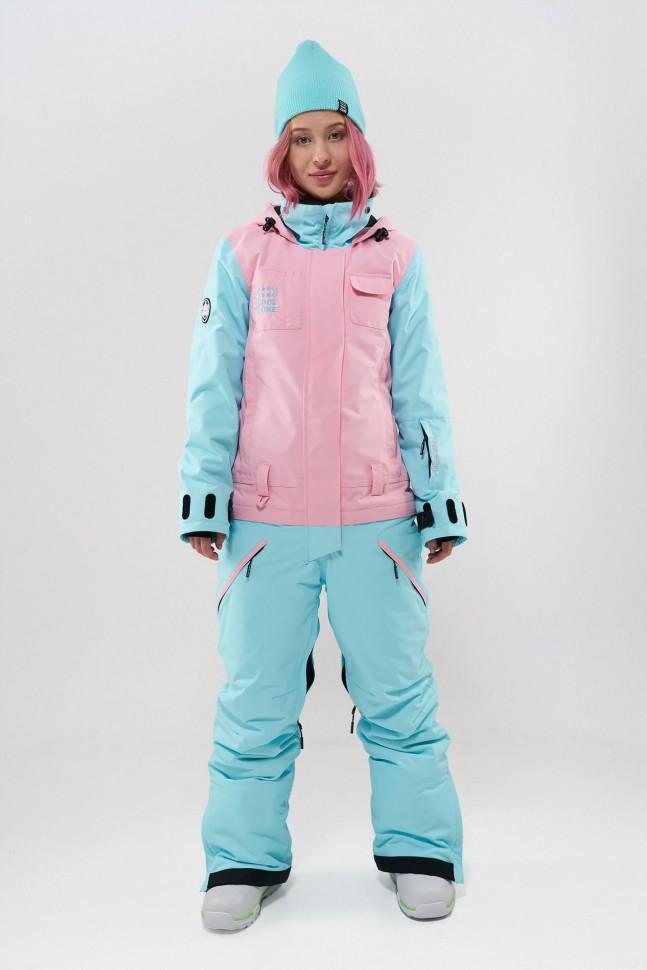 Комбинезон для сноуборда женский COOL ZONE Flex Св.Розовый-Аквамарин фото