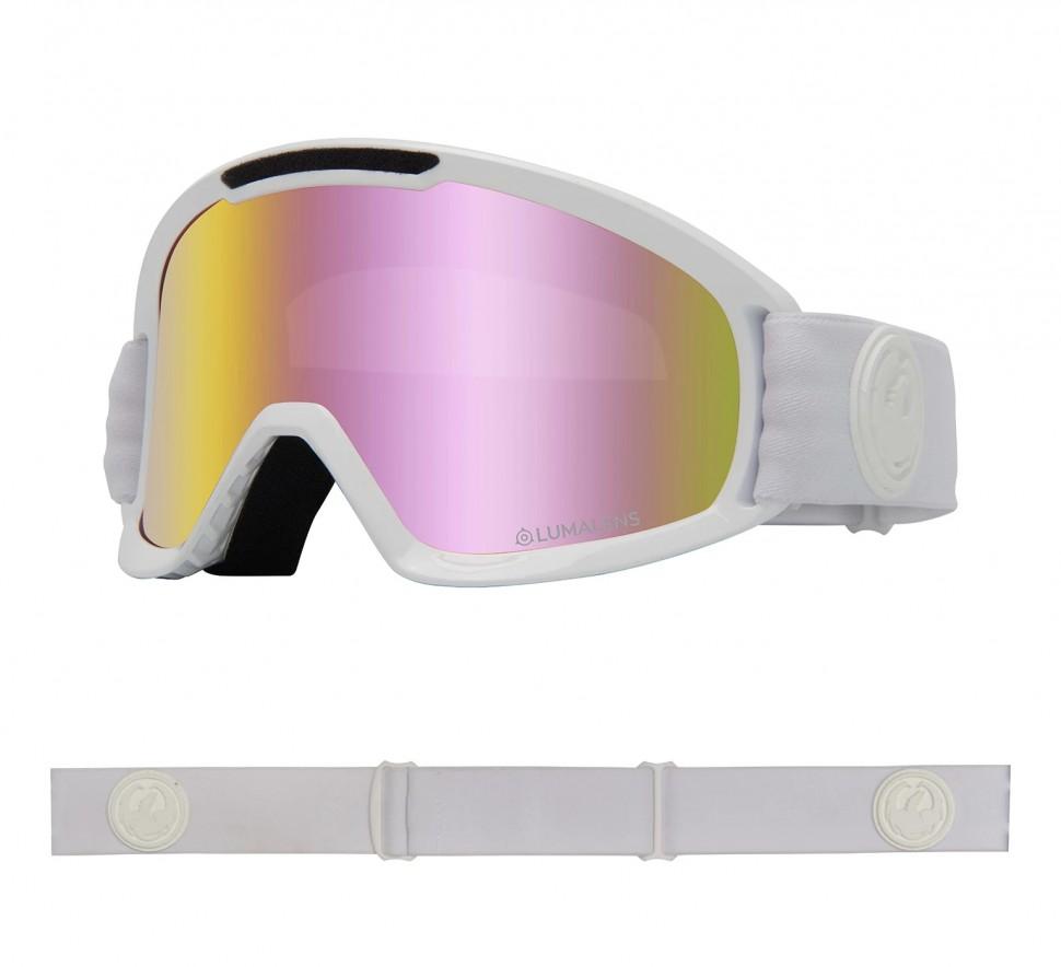 Маска горнолыжная DRAGON Dx2 Whiteout/Ll Pink Ion + Ll Dark Smoke фото