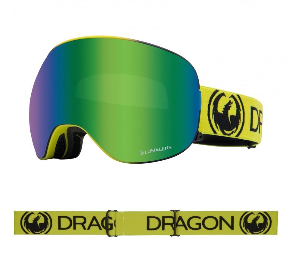 Маска горнолыжная DRAGON X2 Lime/Ll Green Ion + Ll Amber фото