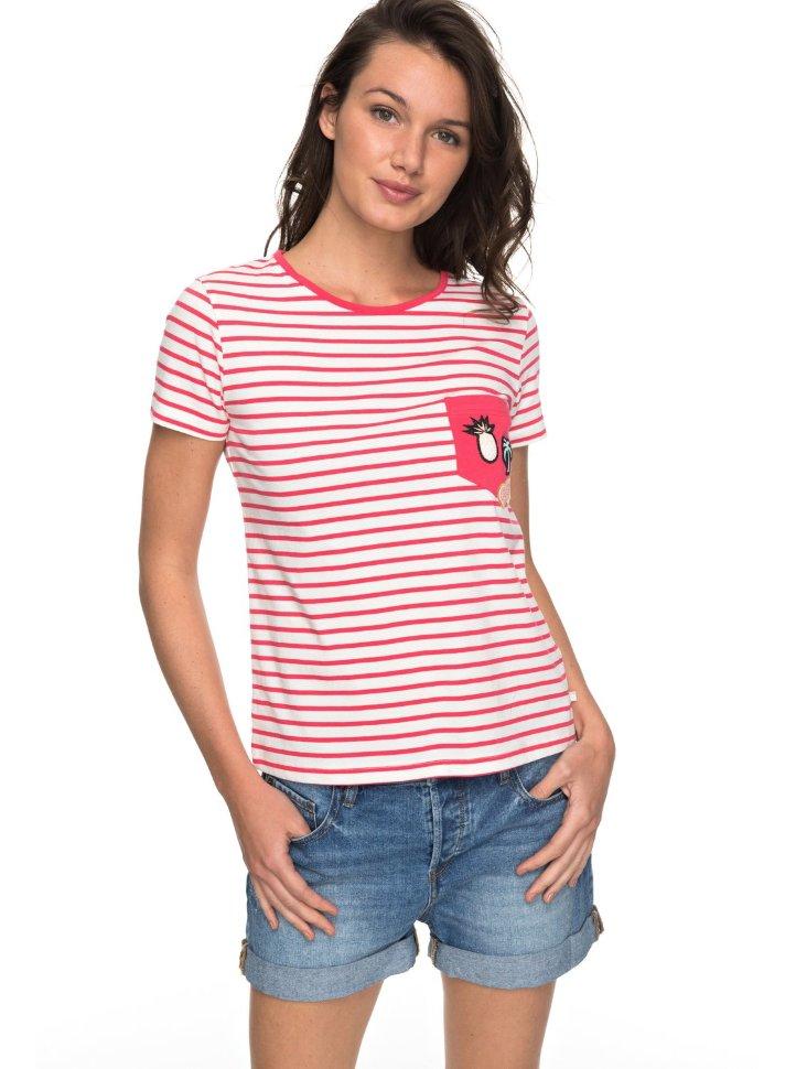 Футболка женская ROXY Bahamas Cott B J Rouge Red Basic Bico Stripes